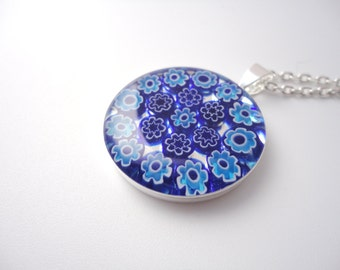 Venetian millefiori pendant necklace blue and turquoise flowers round silver