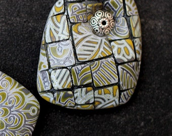 brooch made of polymer clay gray and yellow 2