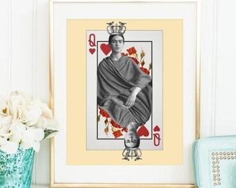 Frida Kahlo print - Frida art poster - Queen of hearts