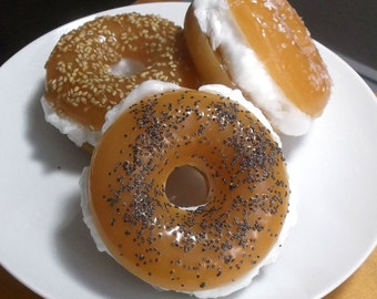 Bagel Soap with Cream Cheese - Unique Soap Gift, Food Soap, Holiday Soap, Stocking Stuffer