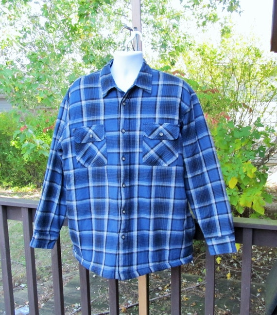 Mens insulated flannel shirt blue quilted flannel blue plaid for Mens insulated flannel shirts