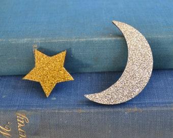 Star and Moon Brooch Badge Pin Set - wooden brooch - moon brooch - star brooch - glittery moon - glittery star