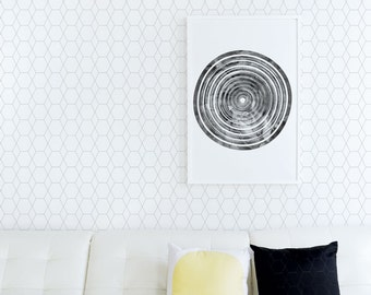Modern Wallpaper, Scandinavian, Monochrome, Simple, Shapes, Abstract, Black, White, Removable Wallpaper, Sticker. Hive Wallpaper - White