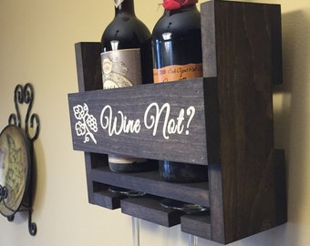 SALE Personalized Wine Rack Engraved Carved Custom Rustic 2 Bottle Wall Mount Wine Rack with 2 Glass Slot Holder, Wall Decor, Handmade