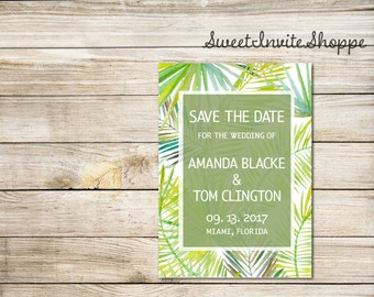 Palm Tree Save The Date Card, Tropical Save The Date Card, Tropical Wedding Invitation, Destination Wedding, Palm Leaves Save The Date Card