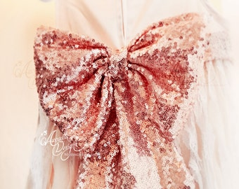 Large Sequin Sash Waist Bow MADE TO ORDER for Flower Girl Dresses Bridal Dress Bridesmaids dress Evening Dress Prom Dress Bow 30 Colors