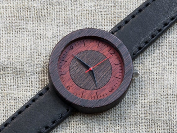 SALE -15% OFF!  Black Wenge  minimal wood watch , Black vintage Genuine Leather strap + Any Engraving / Ready Gift Box. Anniversary  gift