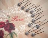 Antique Rhinestones, Bridal Hair Pins, Rhinestone Hair Pins, Wedding Hair Pins, Bridal Bobbie Pins, Prom Hair Pins - by FairyLace Designs
