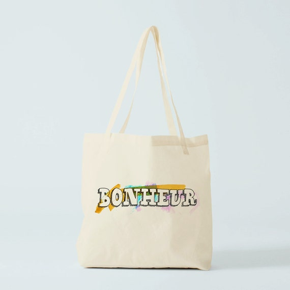 Tote bag Bonheur, Happiness, Cotton bag, canvas bag, yoga bag, groceries bag, school bag, novelty gift, gift for coworker, gift besties.