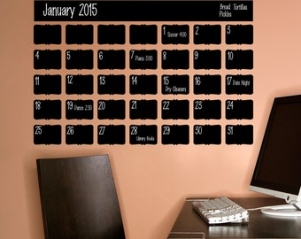 Chalkboard Calendar/ Calendar wall decal/ calendar decal/ wall decal/ chalkboard decal/office calendar/ erasable decal/ classroom calendar