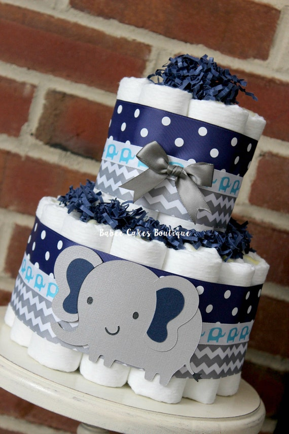 2 tier gray and navy blue elephant diaper cake elephant baby for Baby shower decoration ideas with diapers
