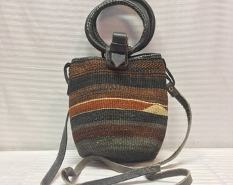 Small Sisil Purse,bag,leather straps, Shoulder Bag,brown,black,gray,tan,top handles,shoulder strap