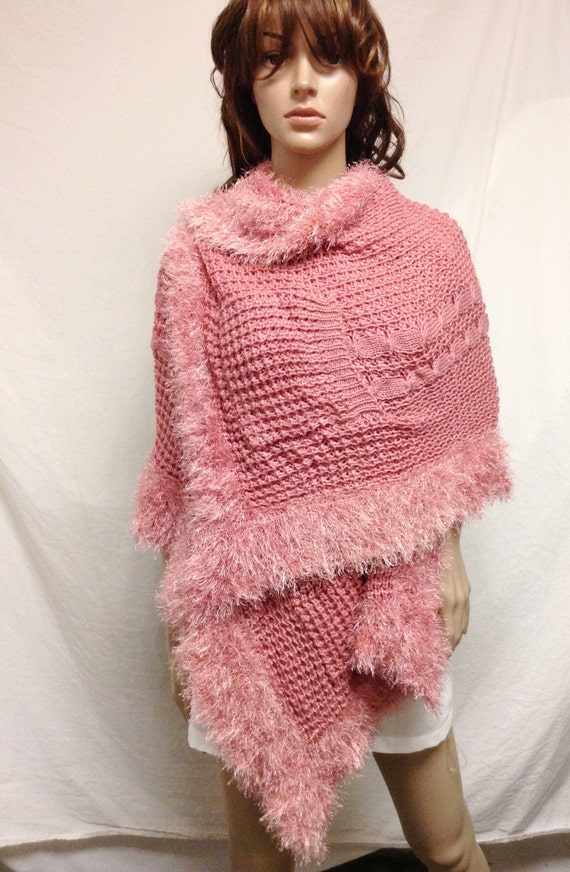 Free Knitting Patterns For Shawls With Pockets : Free Ship Large Pink Knit Shawl w/ Pockets Soft Wrap Fuzzy