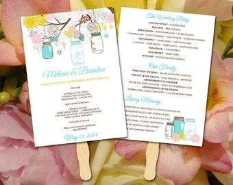 DIY Wedding Program Wedding Fan Template DIY Ceremony Program - Fan Program Template Wedding Program Fan Printable Program Mason Jar Program