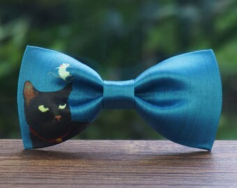 Black Cat with White mouse Bowtie