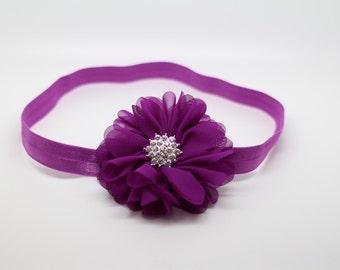Plum Headband, Purple Headband, Plum Flower Girl Headband, Plum Birthday Headband, Plum Hair Clip, plum flower headband,