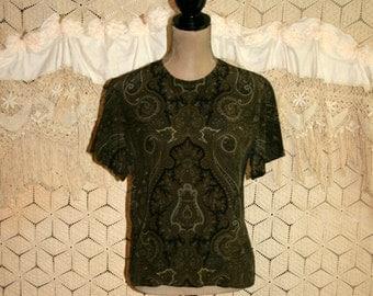 80s Blouse Silk Blouse Boxy Top Short Sleeve Olive Green Paisley Print Back Button Blouse Jones New York Petite Medium Womens Clothing