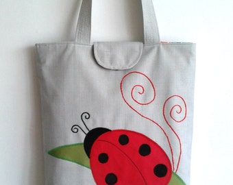 Handmade bag with Ladybird - Handmade tote bag with applique - Handbag with Ladybird applique