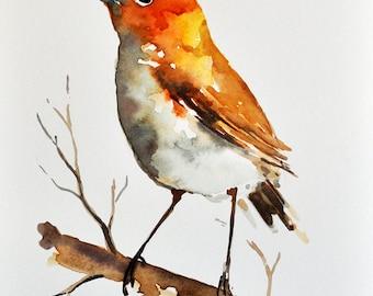 ORIGINAL Watercolor Bird Painting, Bright Colored Sparrow Portrait 6x8 Inch