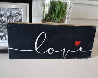 """Love Wood Sign, 5x13"""" Family Quote, Rustic Wedding Sign, Family Wood Sign Quotes, Inspirational Quote Sign, Desk Wood Sign, Reclaimed Wood"""