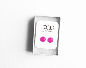 Stud Earrings, Neon Pink Glitter, Handmade Jewelry, Accessories