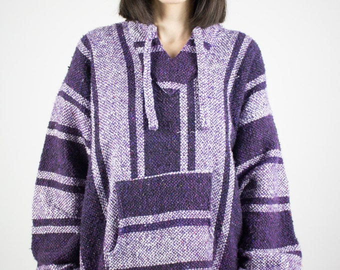 Vintage Poncho | 90s Purple Hoodie | Soft Striped Hooded Jacket