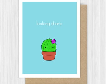 Funny Congratulations Card Congrats Graduation New Job Cactus Pun Good Luck Best Wishes Handmade Greeting Cards Gifts For Friend Her Him
