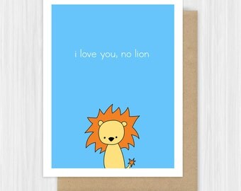 Anniversary Card For Boyfriend Girlfriend Husband Wife Funny Lion Love Pun Fun Romantic Cute I Love You Him Her Handmade Greeting Cards Gift