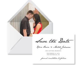 Photo wedding save the date card. Envelope Liner. Lined Envelope.