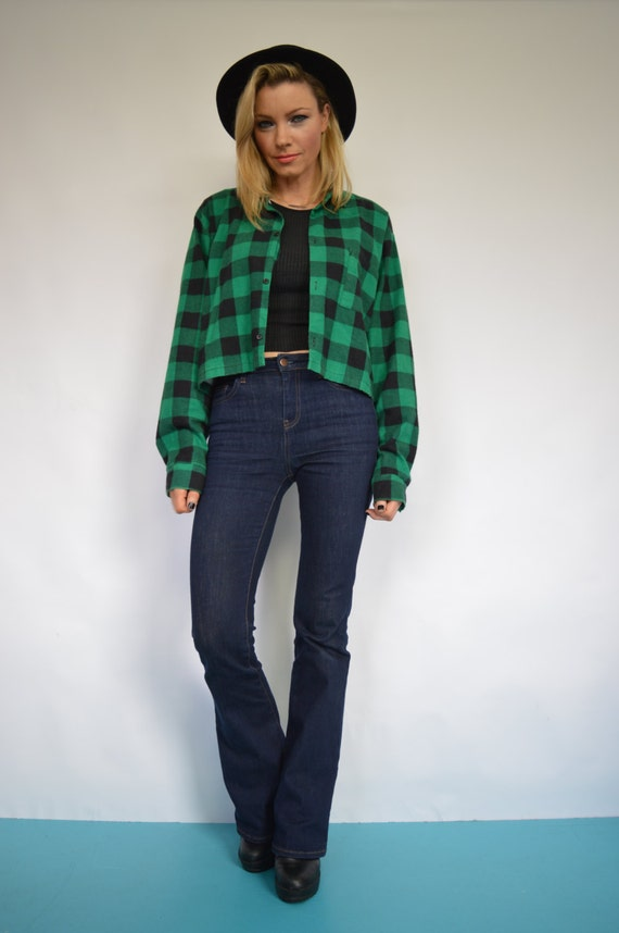 Vintage 90s green black checked flannel cropped shirt plaid for Green and black plaid flannel shirt