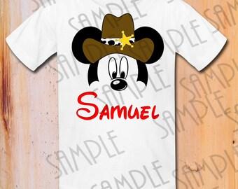 T-shirt Disney Mickey Head with Cowboy Hat Iron On Transfer Birthday Boy Printable digital download Personalized Disney World shirts