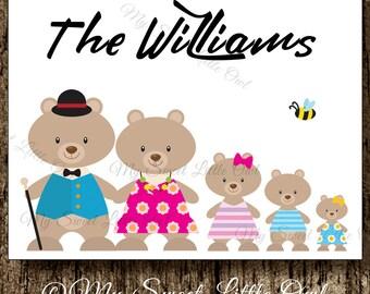Bear Family Card - Family thank you card - Family stationary - Family Notecards - personalized family stationary - bear family note card