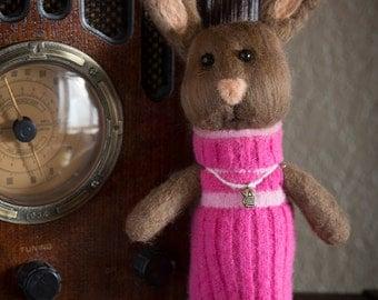 Needle felted stuffed animal bunny rabbit~ Fiber Art Sculpture