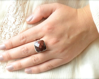 Faceted Square Red Tigers Eye Ring // Tigers Eye Jewelry // Sterling Silver // Village Silversmith