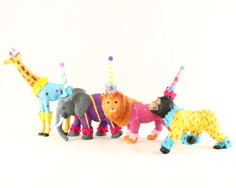 Circus Animal Set of 4- Painted animals, cake toppers, and birthday decor