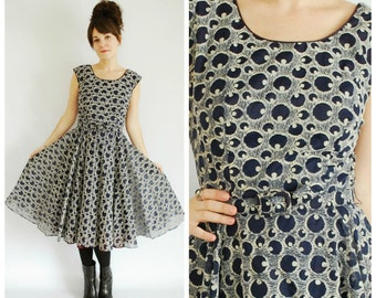 1950's Dress - 1950's Blue Flared Dress - Polka Dot Flocked Dress - Size M