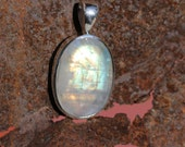Bright Multi Color Oval Rainbow Moonstone Pendant Bezel set in Fine 950. Silver, Gemstone Jewelry,  Blue Flash White Moonstone WST22