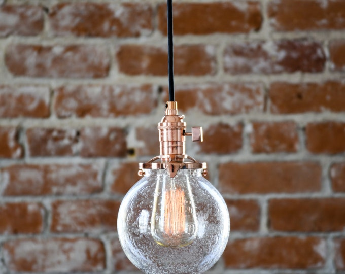 """Free Shipping! Pendant Lighting Copper - 6"""" Seeded Glass Globe - Cloth Wire - Plug In or Ceiling Canopy Mount - Edison Bulb Compatible"""