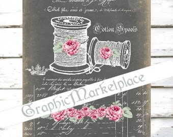 Chalkboard Sewing Spool Cotton Haute Couture Bobines Download Vintage Transfer Burlap digital collage sheet graphic printable No. 1022