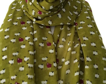 Green Scarf with Sheep Print, Ladies Lime Green Wrap Shawl with White and Purple Sheep