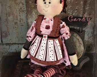 "Pattern: Candy - 22"" Raggedy Doll"