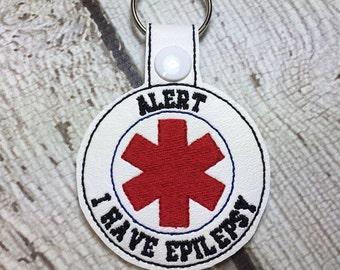Alert - Epilepsy - Key Fob - Embroidery Design -   DIGITAL Embroidery DESIGN