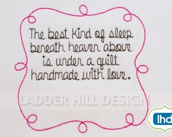 Custom Quilt Label  - The best kind of sleep beneath heaven above is under a quilt - Wedding Quilt Label Design QLRE017