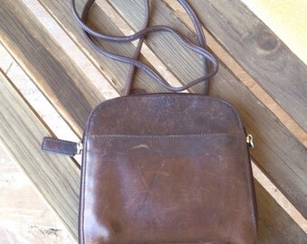Crossbody Fossil Bag, Crossbody Purse, Brown Fossil Leather Handbag Purse, Genuine Leather Handbag, Fossil Shoulder Bag, Fossil Bucket Bag