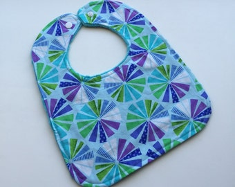 Prism Pinwheel - Reversible Minky Bibs -Teal Minky - Boutique -Baby/Toddler