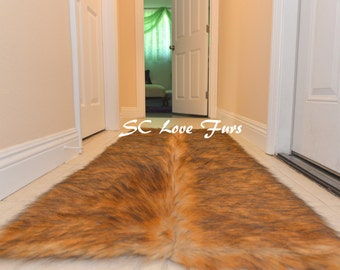 5' Grizzly Runner Rectangle Area Rug Middle Seam New Designs Bearskin Home Accents Decors Beige Grizzly Tip Faux Furs