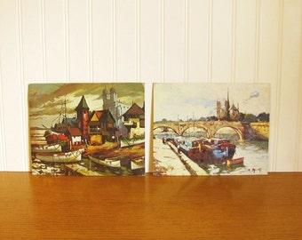 Vintage Nautical Lithograph Canal Scene Boat Scene Winde Fine Print Museum Print Nautical Print D' Allesandre Mid Century Art Boat Print