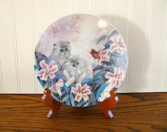 Vintage Cat Plate Lily Chang Petal Pals Flowering Fascination W L George Collector Plate Persian Cat Tiger Lily Cat Collector Cat Rescue