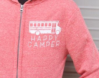 Happy Camper Bus Hooded Sweatshirt - Heathered Red