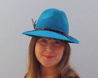 Teal Blue Wool Felt Trilby Fedora Hat with Patent leather and feather trim. Autumn Winter Warm Day Hat.